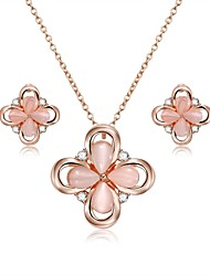 cheap -Women's Opal / Cubic Zirconia Jewelry Set - Zircon, Gold Plated, Opal Flower Include Stud Earrings / Pendant Necklace Pink For Wedding / Evening Party