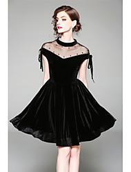 baratos -Mulheres Para Noite Delgado Evasê / Bainha Vestido - Laço / Com Transparência, Sólido Ombro a Ombro Altura dos Joelhos