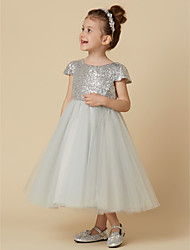 cheap -A-Line Knee Length Flower Girl Dress - Tulle Sequined Short Sleeves Jewel Neck with Sequin by LAN TING BRIDE®