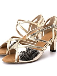 cheap -Women's Latin Shoes / Modern Shoes Leatherette Sandal / Heel Animal Print Flared Heel Customizable Dance Shoes Gold / Silver / Practice