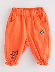 abordables -Couleur Pleine Fille de Coton Printemps Eté Robe Basique Orange