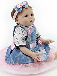 cheap -NPK DOLL Reborn Doll Baby 22inch Silicone / Vinyl - Newborn, lifelike, Cute Girls' Kid's Gift