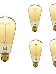 economico -5 pezzi 40W E26/E27 ST64 Bianco caldo 2200-3000k K Retrò Oscurabile Decorativo Incandescente Vintage Edison Lampadina 110-130V