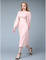 Недорогие -Жен. Изысканный Уличный стиль Оболочка С летящей юбкой Из двух частей Платье - Однотонный Макси