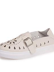 baratos -Mulheres Sapatos Couro Ecológico / Pele Nobuck Inverno Botas da Moda / Conforto Botas Ponta Redonda Elástico para Branco / Preto / Bege