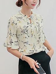 cheap -Women's Basic Blouse - Geometric Lace up