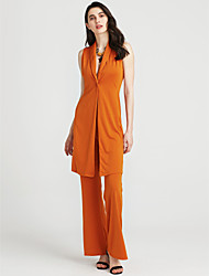 cheap -Women's Set - Solid Colored Pant V Neck