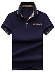 Недорогие -Муж. Спорт Большие размеры - Polo Хлопок, Рубашечный воротник Классический / Уличный стиль Однотонный / С короткими рукавами