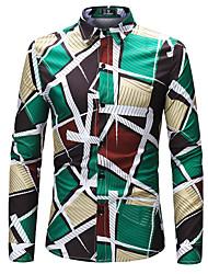billige Herremode og tøj-Herre - Geometrisk Farveblok Trykt mønster Gade Skjorte