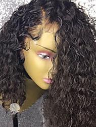 Недорогие -Remy Лента спереди Парик Бразильские волосы Кудрявый Парик Стрижка боб 130% С детскими волосами / Природные волосы / Парик в афро-американском стиле Жен. Короткие