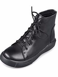 Недорогие -Жен. Обувь Наппа Leather / Кожа Осень / Зима Армейские ботинки Ботинки На низком каблуке Ботинки Черный