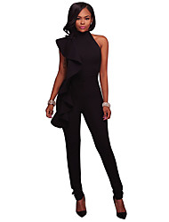 cheap -Women's Street chic Jumpsuit - Solid Colored, Ruffle