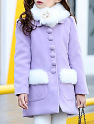 cheap -Girls' Solid Jacket & Coat, Acrylic Polyester Winter Fall Long Sleeves Blushing Pink Purple