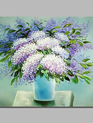 cheap -STYLEDECOR Modern Hand Painted Abstract A Bottle of Purple and White Flowers Oil Painting on Canvas for Wall