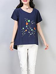 baratos -Mulheres Camiseta Floral Algodão / Linho