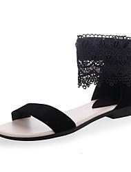 Недорогие -Жен. Обувь Искусственное волокно Лето Удобная обувь Сандалии Для прогулок На плоской подошве Открытый мыс Цветы из сатина Белый / Черный