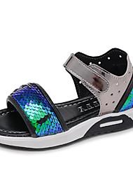 baratos -Para Meninas Sapatos Couro Ecológico Verão Conforto Sandálias Lantejoulas Velcro para Ao ar livre Dourado Rosa claro Azul Real
