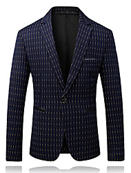 cheap -Men's Business Casual Blazer-Striped Peaked Lapel / Please choose one size larger according to your normal size. / Long Sleeve