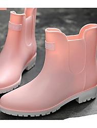 Недорогие -Жен. Обувь ПВХ Весна лето Резиновые сапоги Ботинки На низком каблуке Ботинки Розовый / Хаки