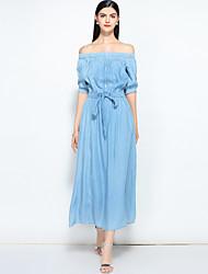 cheap -MARY YAN&YU Women's Basic / Street chic Denim Dress - Solid Colored Lace up