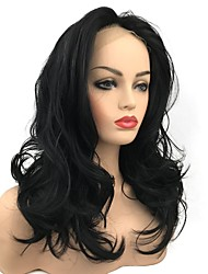 cheap -Synthetic Lace Front Wig Curly Middle Part Synthetic Hair Hot Sale Black Wig Women's Long Lace Front / Yes