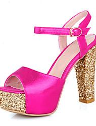 preiswerte -Damen Schuhe Glitzer / PU Herbst Pumps Sandalen Blockabsatz Peep Toe Schnalle Gold / Silber / Fuchsia / Hochzeit / Party & Festivität