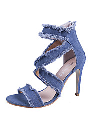 cheap -Women's Shoes Denim Summer Cowboy / Western Boots Sandals Stiletto Heel Open Toe Dark Blue / Light Blue / Wedding / Party & Evening