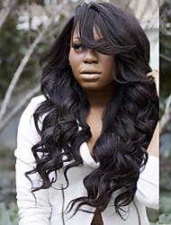 cheap -Virgin Human Hair Wig Brazilian Hair Wavy Layered Haircut 130% Density With Baby Hair With Bangs Black Short Long Mid Length Women's
