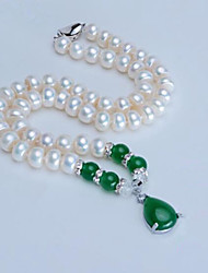 cheap -Women's Onyx Pendant Necklace  -  Pearl, Freshwater Pearl Drop Classic, Fashion Wine, Dark Green 46 cm Necklace For Party, Daily