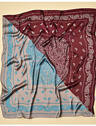 Недорогие -Жен. Винтаж Квадратная Искусственный шёлк, Контрастных цветов