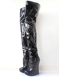 お買い得  -女性用 靴 PUレザー 秋冬 ファッションブーツ / アイデア ブーツ ウエッジヒール ラウンドトウ ロングブーツ のために パーティー イエロー / ブルー / ピンク