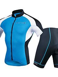 abordables -Homme Manches Courtes Maillot et Cuissard de Cyclisme - Bleu marine Vélo Ensemble de Vêtements, La peau 3 densités Polyester / Spandex