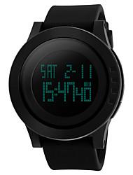 baratos -SKMEI Homens Mulheres Digital Relógio Esportivo Chinês Impermeável Legal Silicone Banda Minimalista Preta