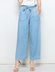 baratos -Mulheres Básico / Moda de Rua Perna larga / Jeans Calças - Sólido