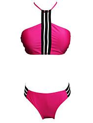 preiswerte -Damen Bikinis - Rückenfrei mit Schnürung, Gestreift Einfarbig Cheeky-Bikinihose