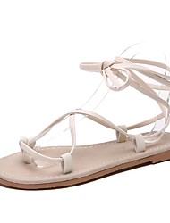 baratos -Mulheres Sapatos Courino / Couro Primavera Verão Conforto Sandálias Sem Salto Ponta Redonda para Ao ar livre Preto / Bege