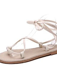 povoljno -Žene Cipele Umjetna koža / Koža Proljeće ljeto Udobne cipele Sandale Ravna potpetica Okrugli Toe za Vanjski Crn / Bež