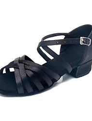 abordables -Fille Chaussures Latines Soie Talon Talon Bas Personnalisables Chaussures de danse Noir / Intérieur / Entraînement