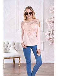 baratos -Mulheres Camiseta Renda, Sólido