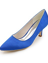 cheap -Women's Shoes Satin Spring & Summer Basic Pump Wedding Shoes Kitten Heel Pointed Toe Blue / Champagne / Ivory / Party & Evening