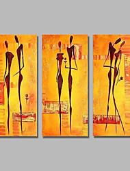 Недорогие -Hang-роспись маслом Ручная роспись - Абстракция Люди Современный Modern холст