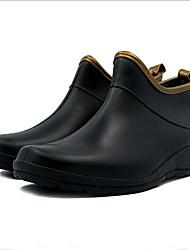 Недорогие -Жен. Обувь Дерматин Весна лето Резиновые сапоги Ботинки На плоской подошве Круглый носок Черный