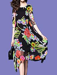 Недорогие -Жен. Изысканный Шинуазери (китайский стиль) А-силуэт С летящей юбкой Платье - Цветочный принт, С принтом Средней длины