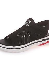 Недорогие -Жен. Обувь Тюль Лето Удобная обувь Сандалии На плоской подошве Круглый носок Черный / Красный / Для вечеринки / ужина