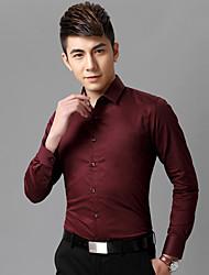 Недорогие -Муж. Офис Рубашка Хлопок Тонкие Деловые / Классический Однотонный / Длинный рукав