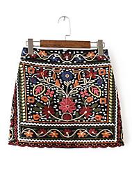 cheap -Women's Going out Cute Mini A Line Skirts - Floral High Waist