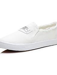 Недорогие -Жен. Обувь Полотно Осень Удобная обувь Кеды На плоской подошве Белый / Черный / Темно-синий
