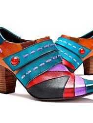 Недорогие -Жен. Кожаные ботинки Кожа Весна лето Оригинальная обувь Обувь на каблуках На толстом каблуке Круглый носок Ботинки Жемчуг Синий / Для вечеринки / ужина / Для вечеринки / ужина