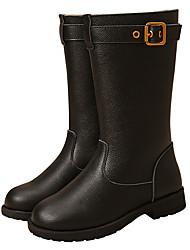 baratos -Para Meninas Sapatos Pele Outono Inverno Coturnos Botas da Moda Botas para Casual Ao ar livre Preto Café