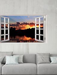 Недорогие -Декоративные наклейки на стены / Напольные наклейки - 3D наклейки Пейзаж / 3D Гостиная / Офис